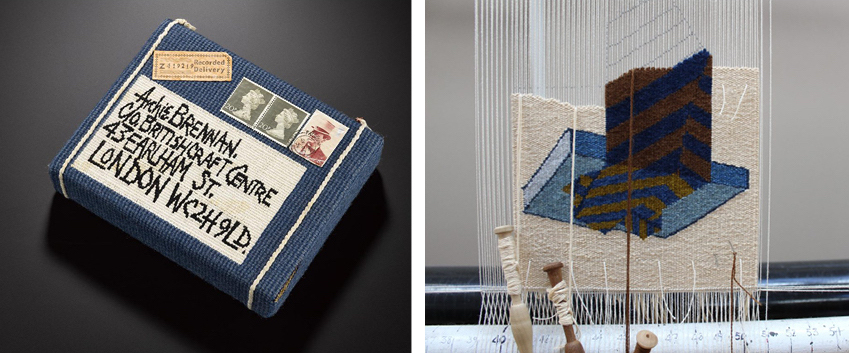 Archie Brennan, Tapestry Parcel, 1974 (left) and Ben Hymers, Detail from At a Window IV: Lace Curtain (1976) after Archie Brennan, 2019 (right)