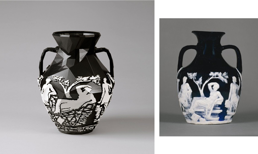 Michael Eden, Prtlnd Vase, 2012 (left) and The Portland Vase, between 5AD and 25AD, The British Museum (right)