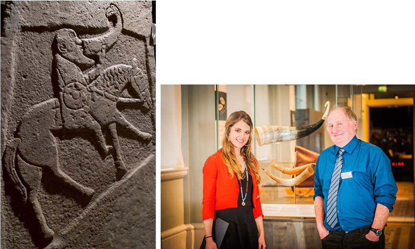 Pictish sculptured stone slab depicting a horseman with sword and shield drinking from an ox horn, from Bullion, Invergowrie, Angus, c. 900 – 950 (left) and  Jennifer Gray and Johnny Ross ith the completed horns in the Creative Spirit exhibition, The Nat