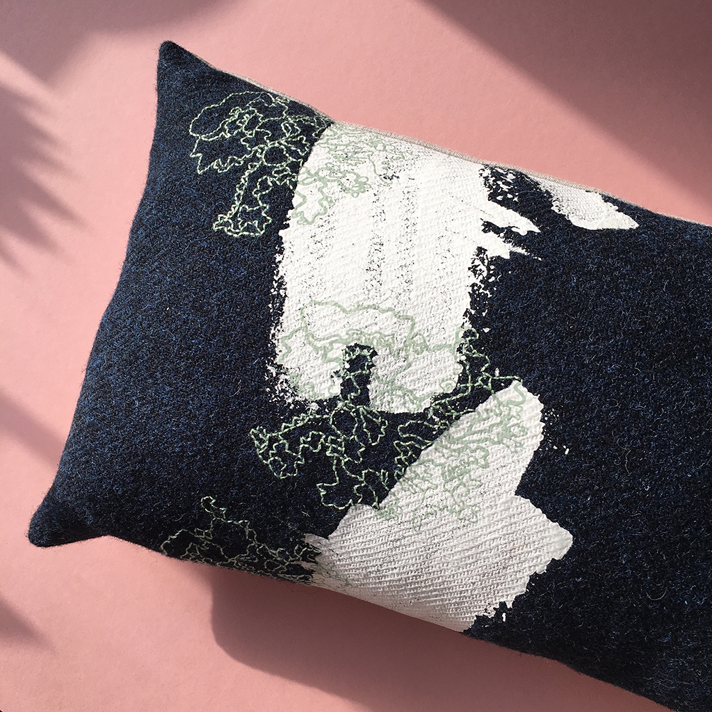 Abstract 'Lace Lichen' Tweed Cushion with Embroidery