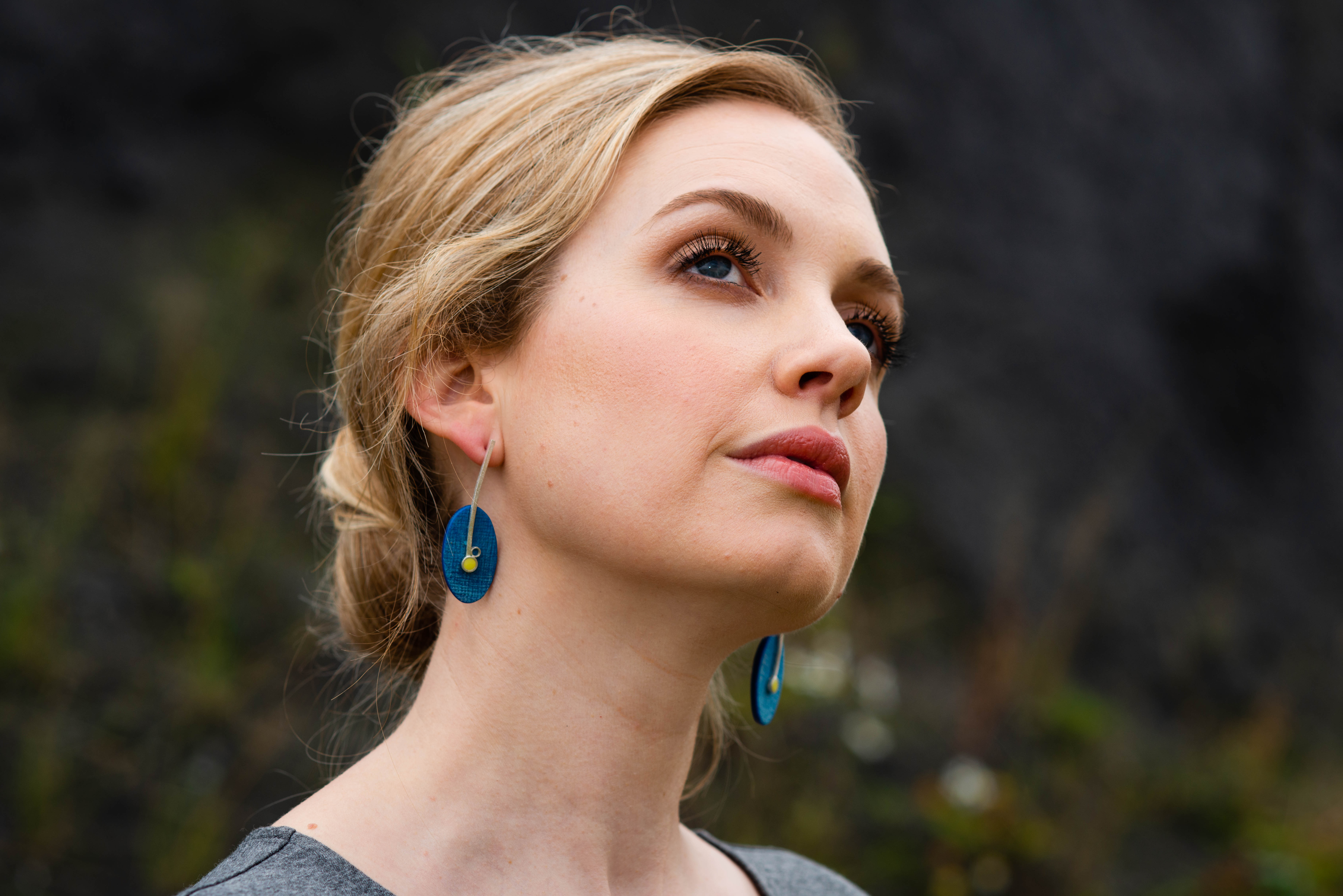 Blue Oval and yellow Earrings