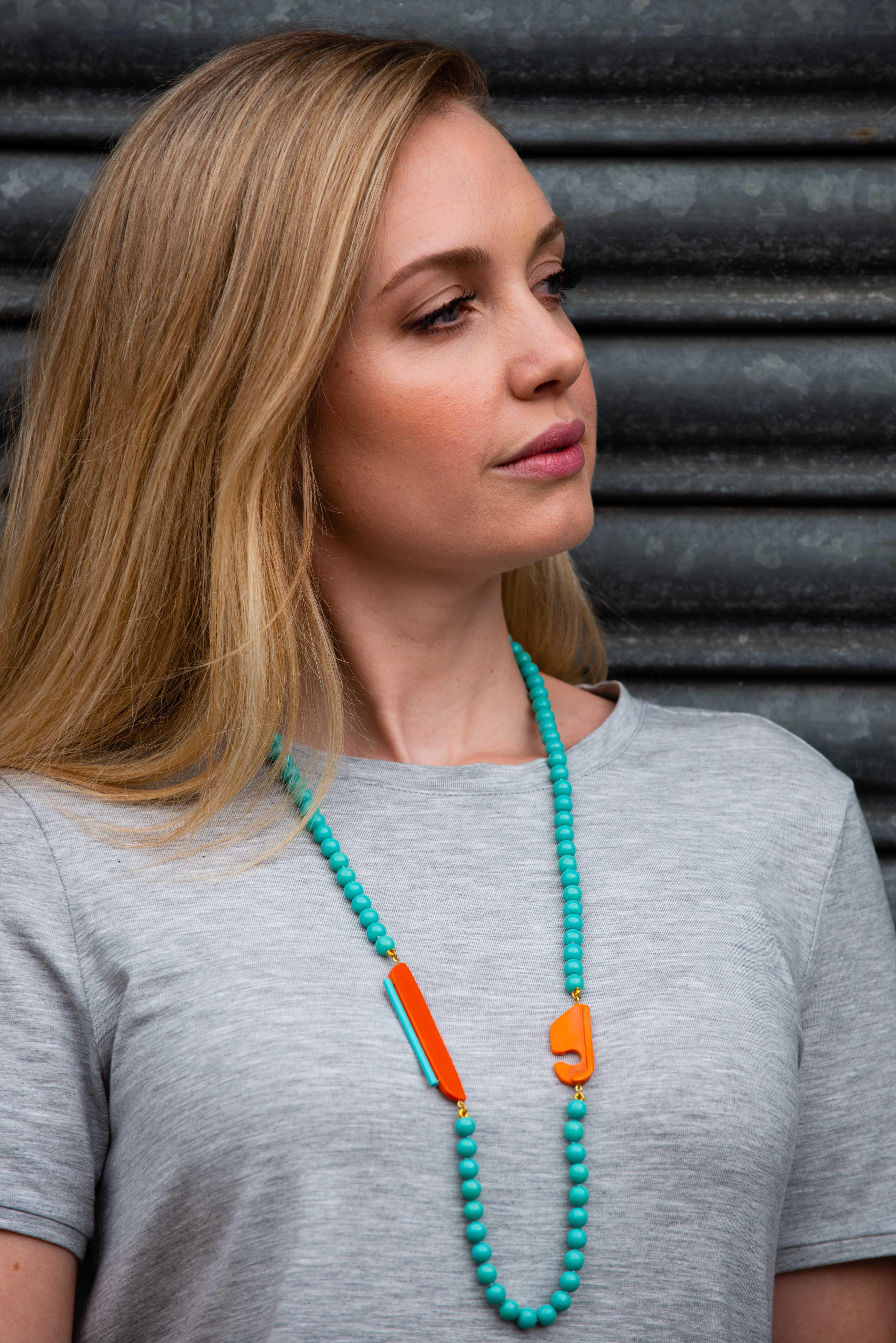Turquoise and Orange Necklace