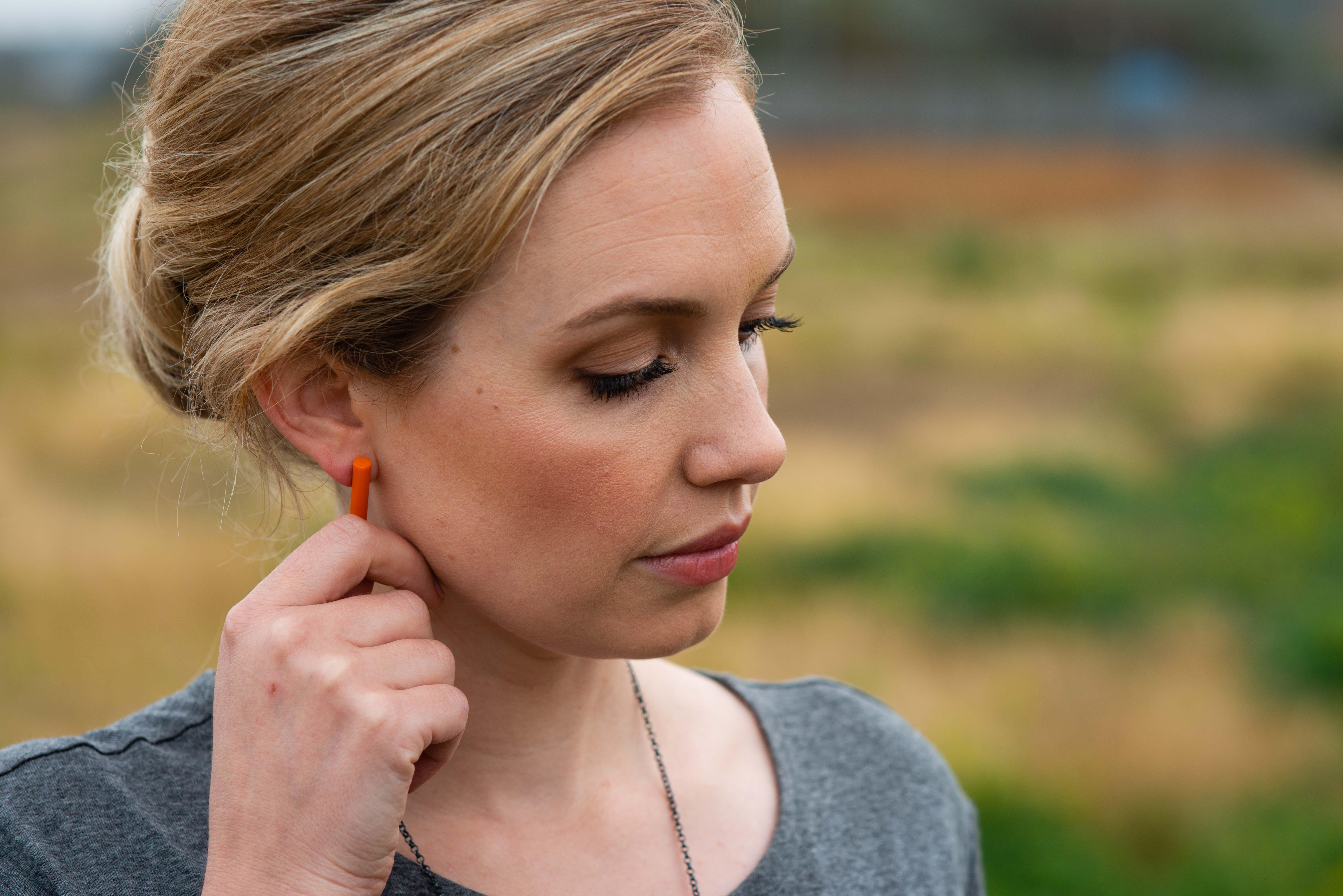 Orange Post Earrings