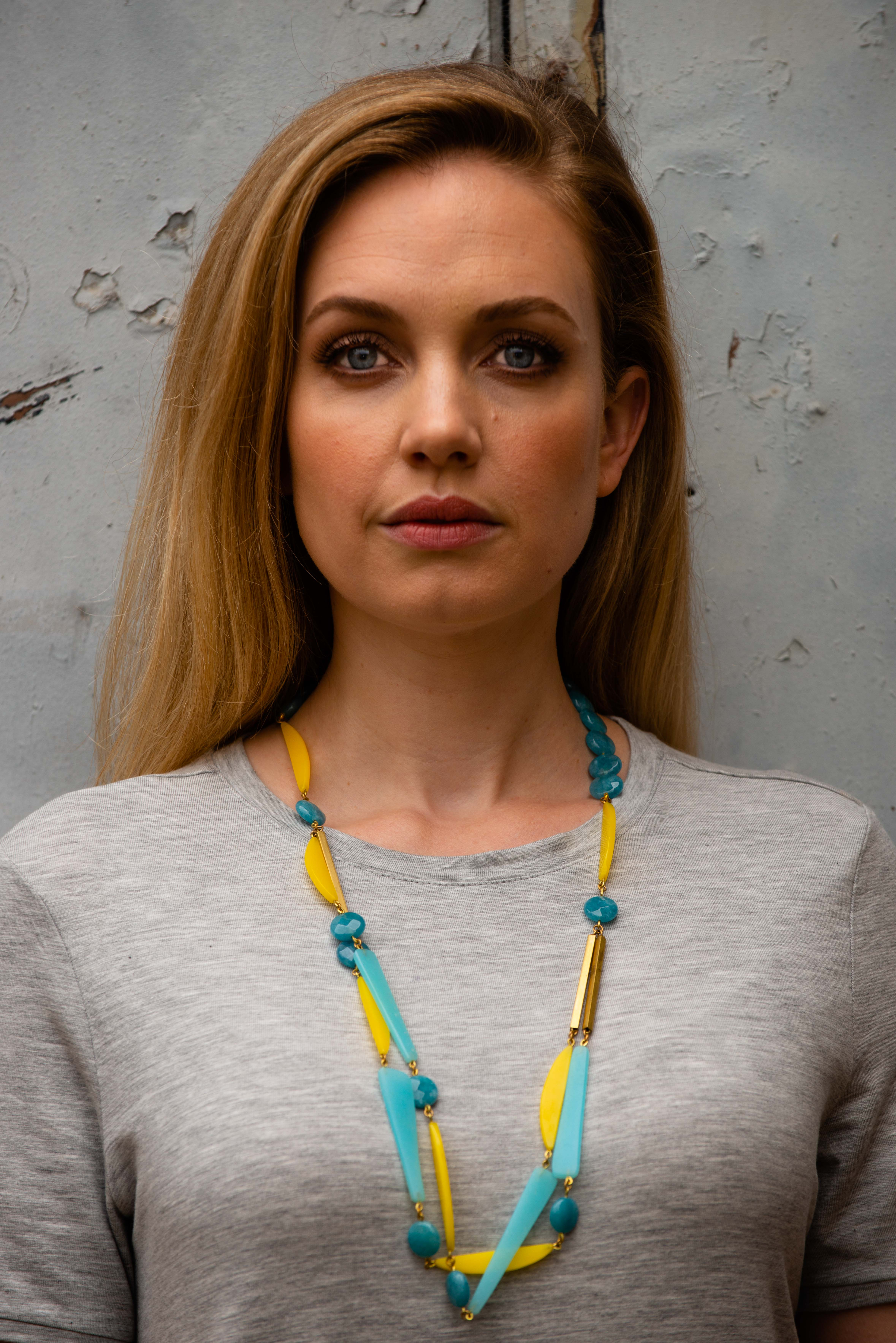 Blue and Yellow Staement Necklace