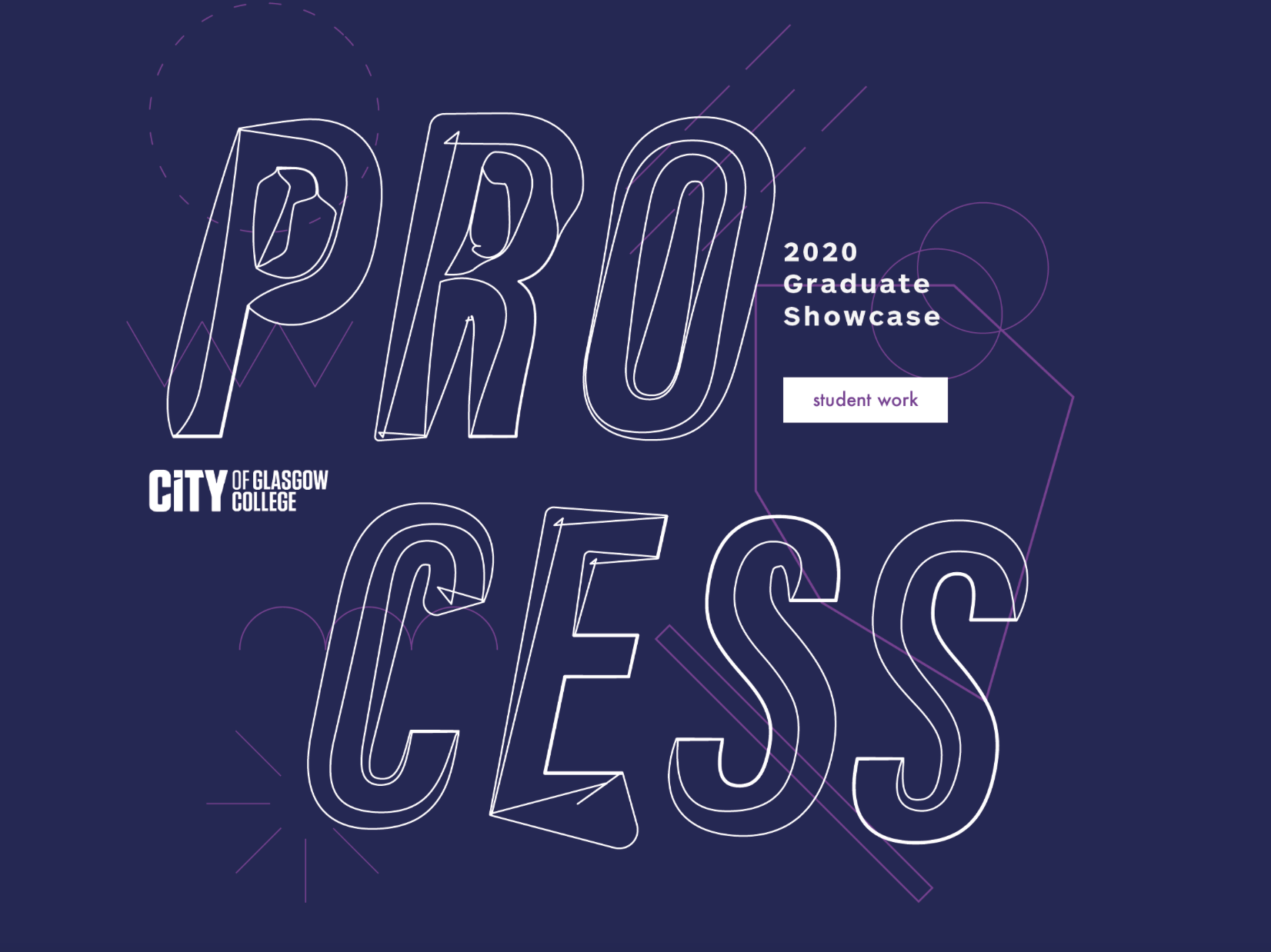 The promotional graphic for Process - 2020 Graduate Showcase at the City of Glasgow College