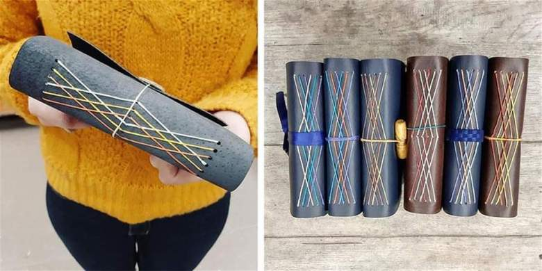 Two photographs side by side: on the left, a person in a yellow sweater holds a layered stitches bind book, on the right, six blue and brown leather notebooks with layered stitch binding are visible from their sides