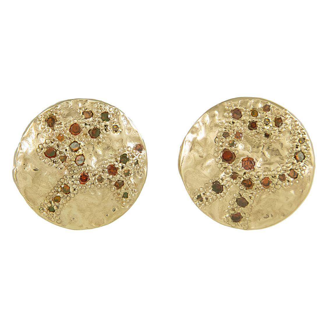 XXXV LARGE COGNAC DIAMOND SCATTER STUD EARRINGS