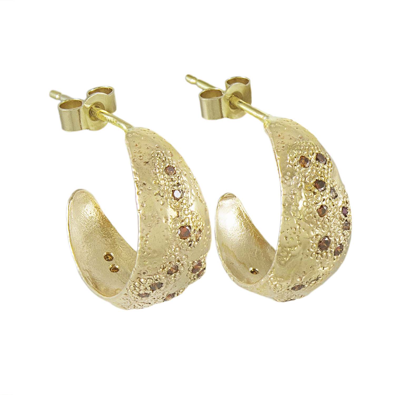 LX GOLD & COGNAC DIAMOND HOOP EARRINGS