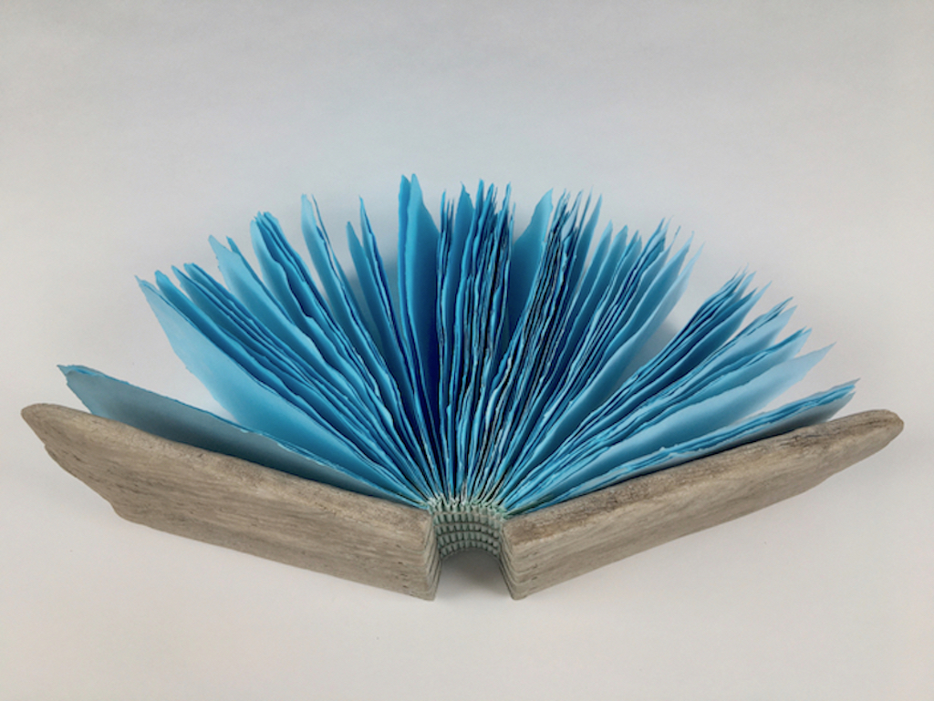 Journal with driftwood covers and blue dyed pages