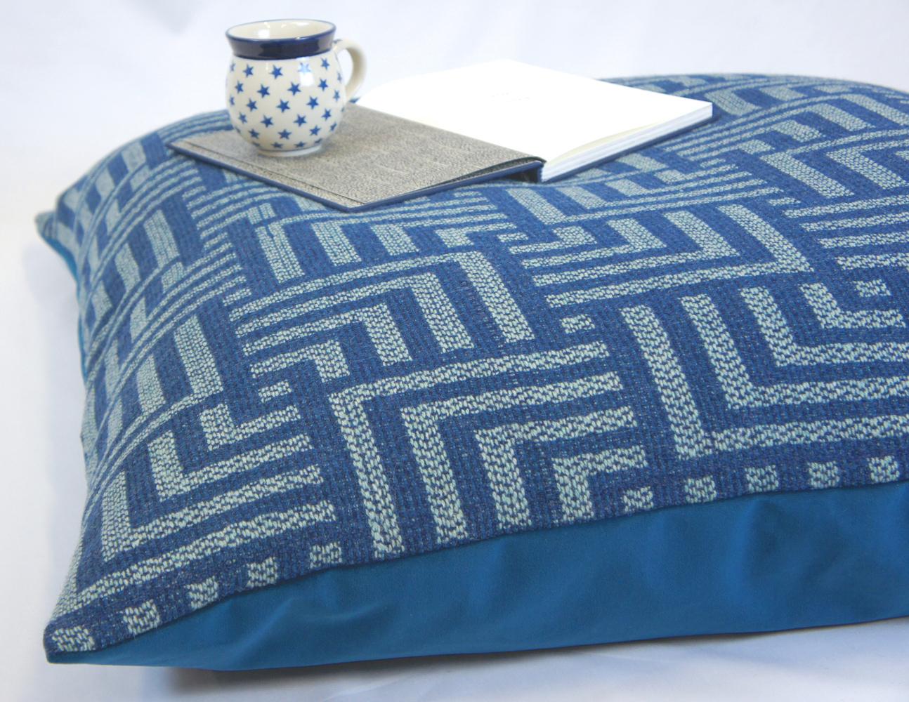 Handwoven Deco Floor Cushion in Teal and Pistachio