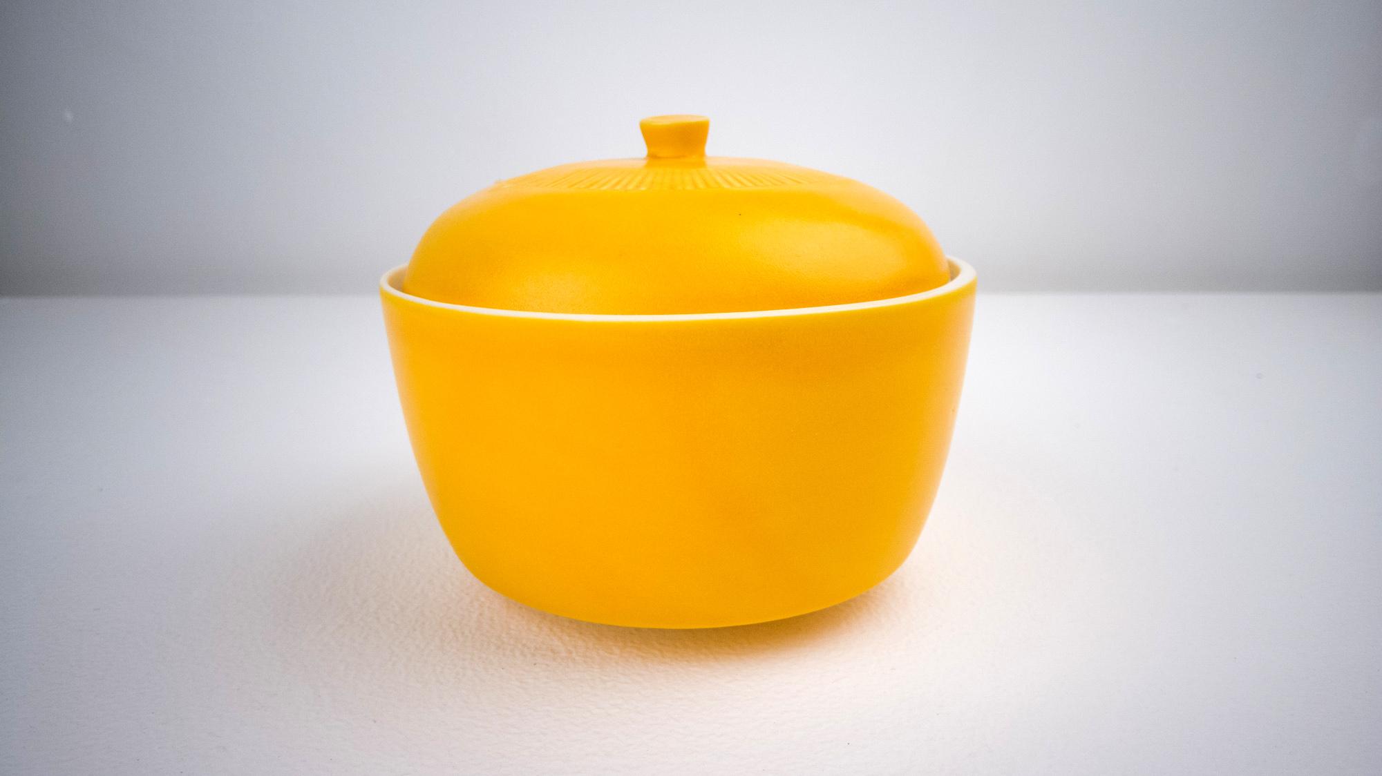 Covered Jar with Orange Julius glaze