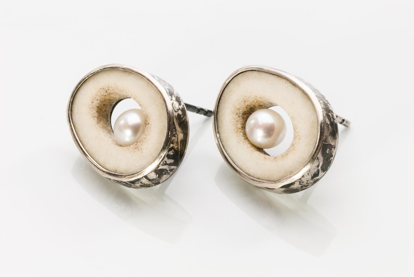 Antler/Pearl Earrings