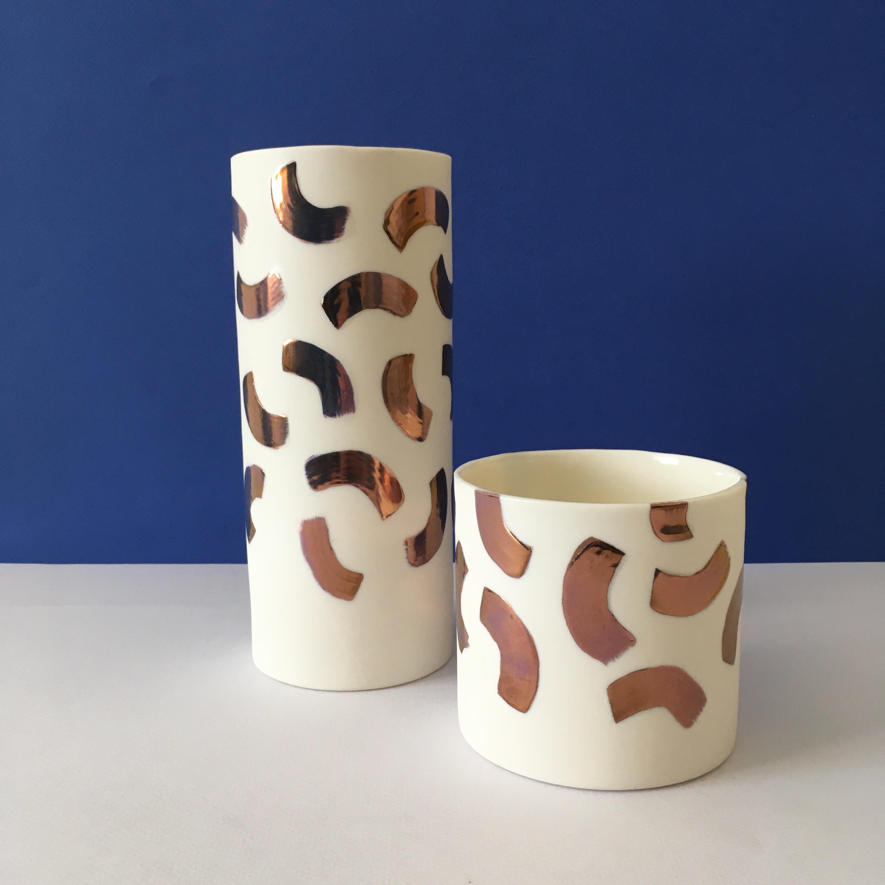 Stroke Copper Lustre Vase and Pot