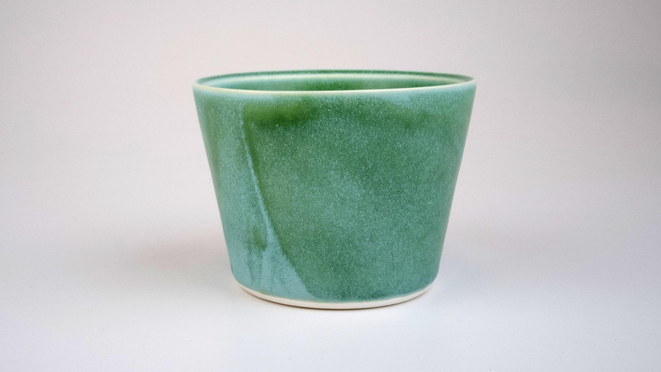 Wedge Cup With Matt Green Glaze