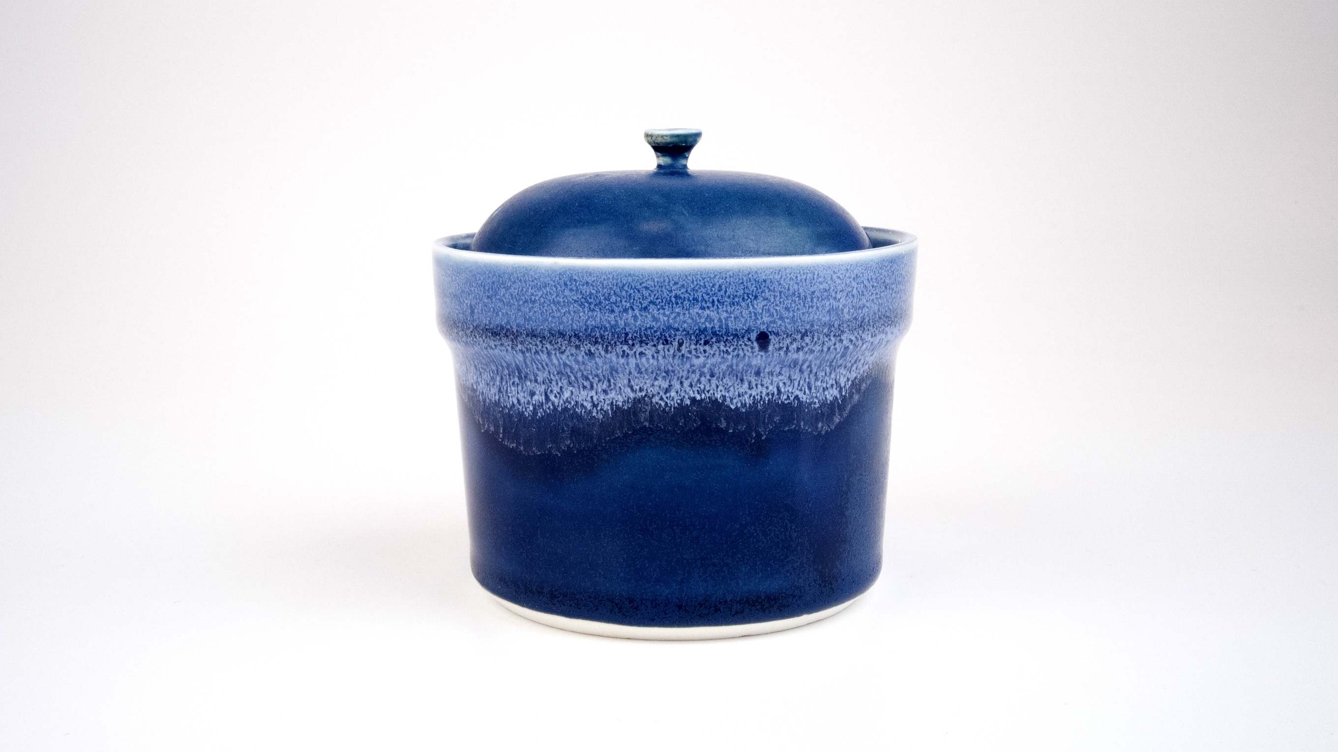 Covered Crock with Blue Glaze