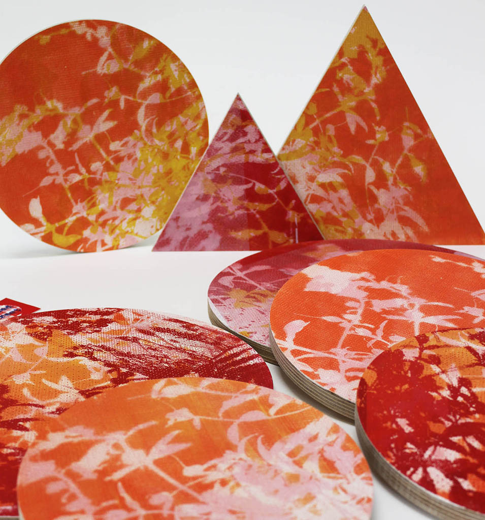 Better Shape up - Ply wall art shapes in hot palette