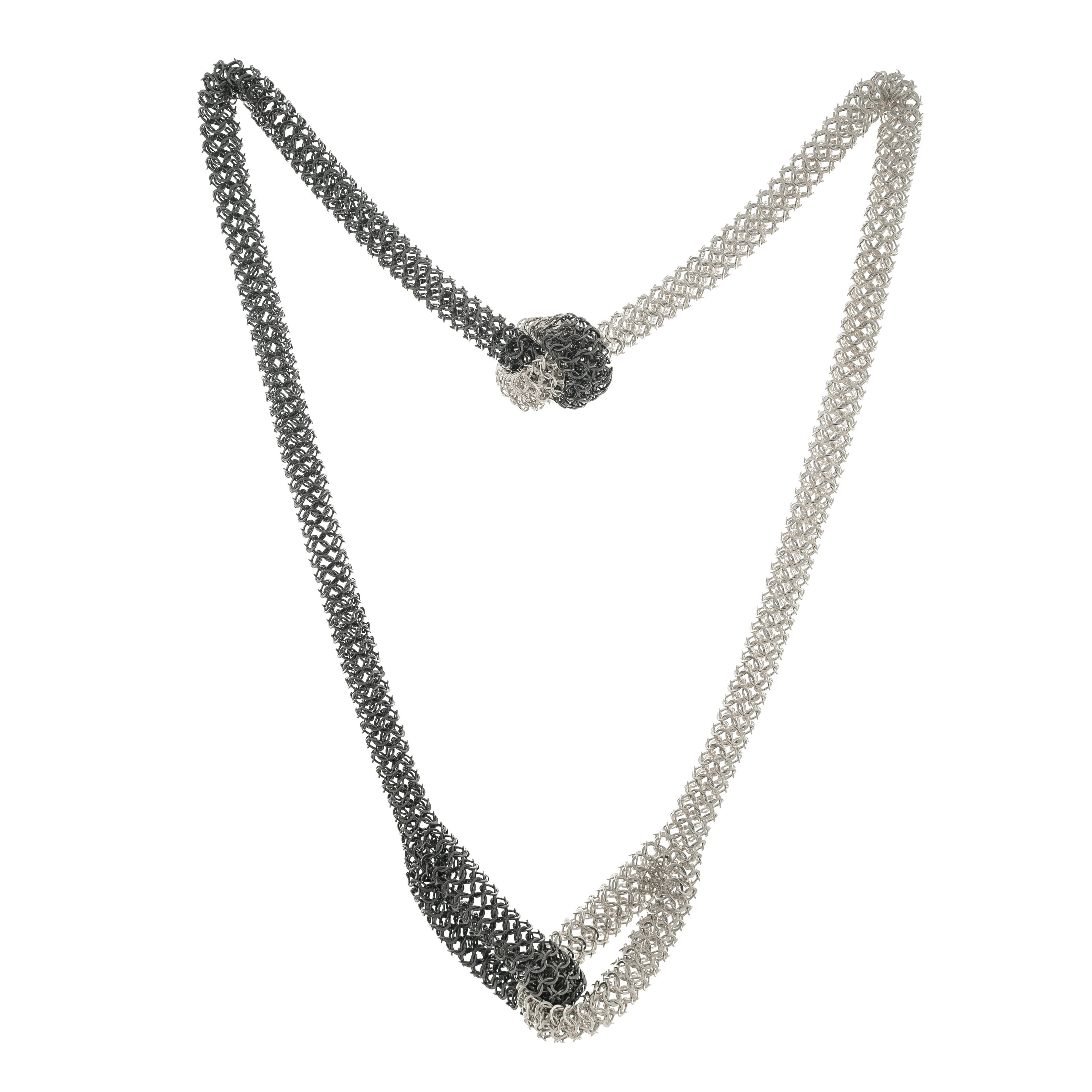 Elliot necklace, silver and oxidised silver