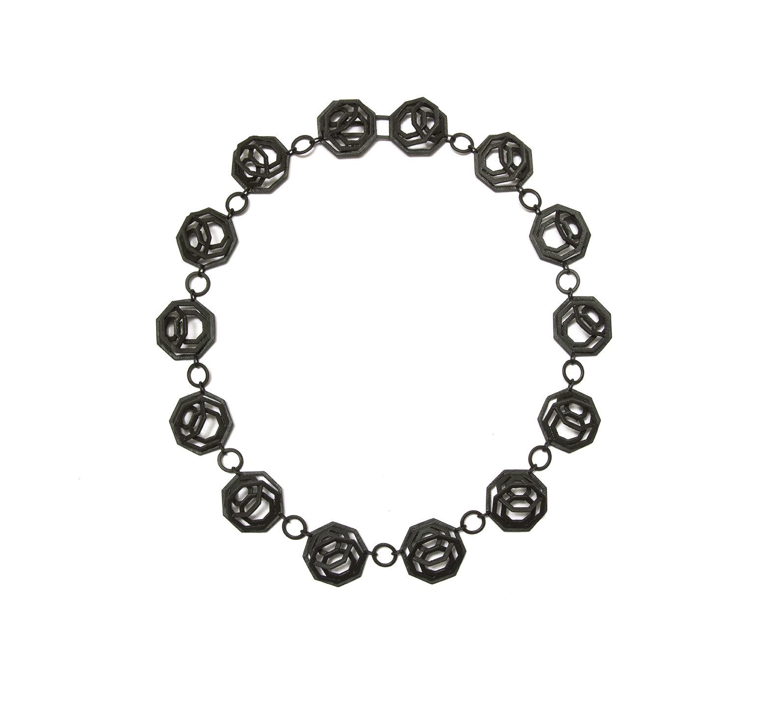 Octagonal Chaos Rising necklace, Black rhodium on sterling silver