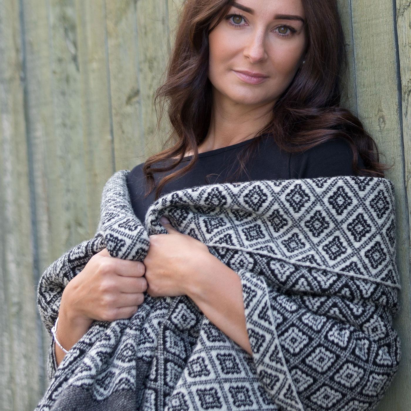 Shetland wool wrap in black & natural white