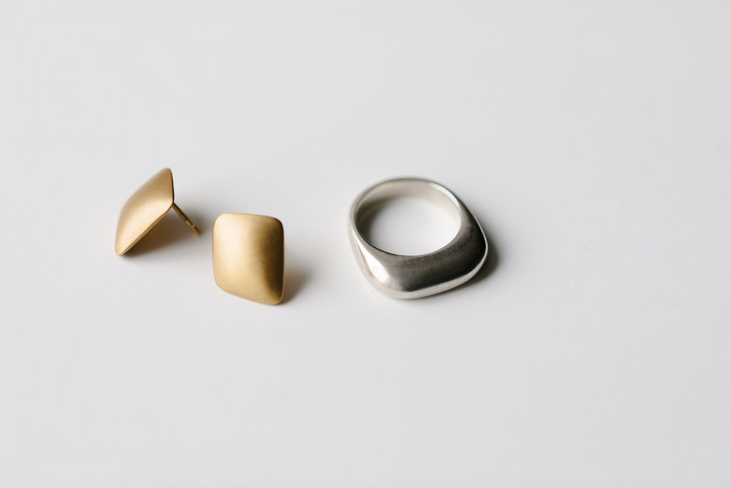 Gold Dome Studs / Silver Dome Ring