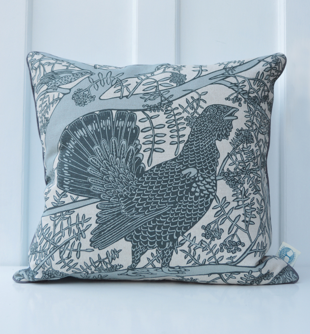 'Capercaillie Grey' cushion