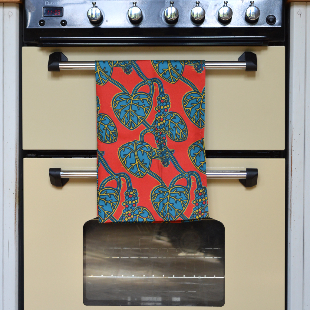 'Pepper Vine Red' tea towel