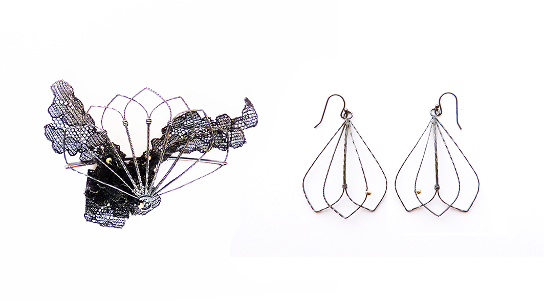 'Fan Railings' Brooch and Earrings