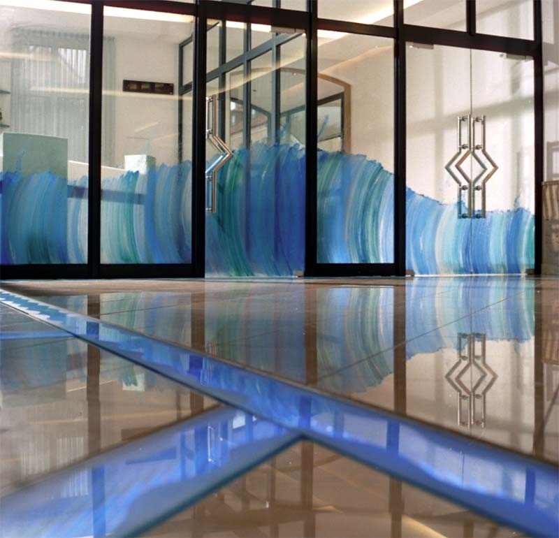 Water Company Hildesheim, Germany - Public Art, painting on glass, neon installation in floor