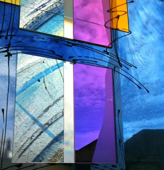 detail Kildare Public Library - painting on lgass with integrated dichroic glass