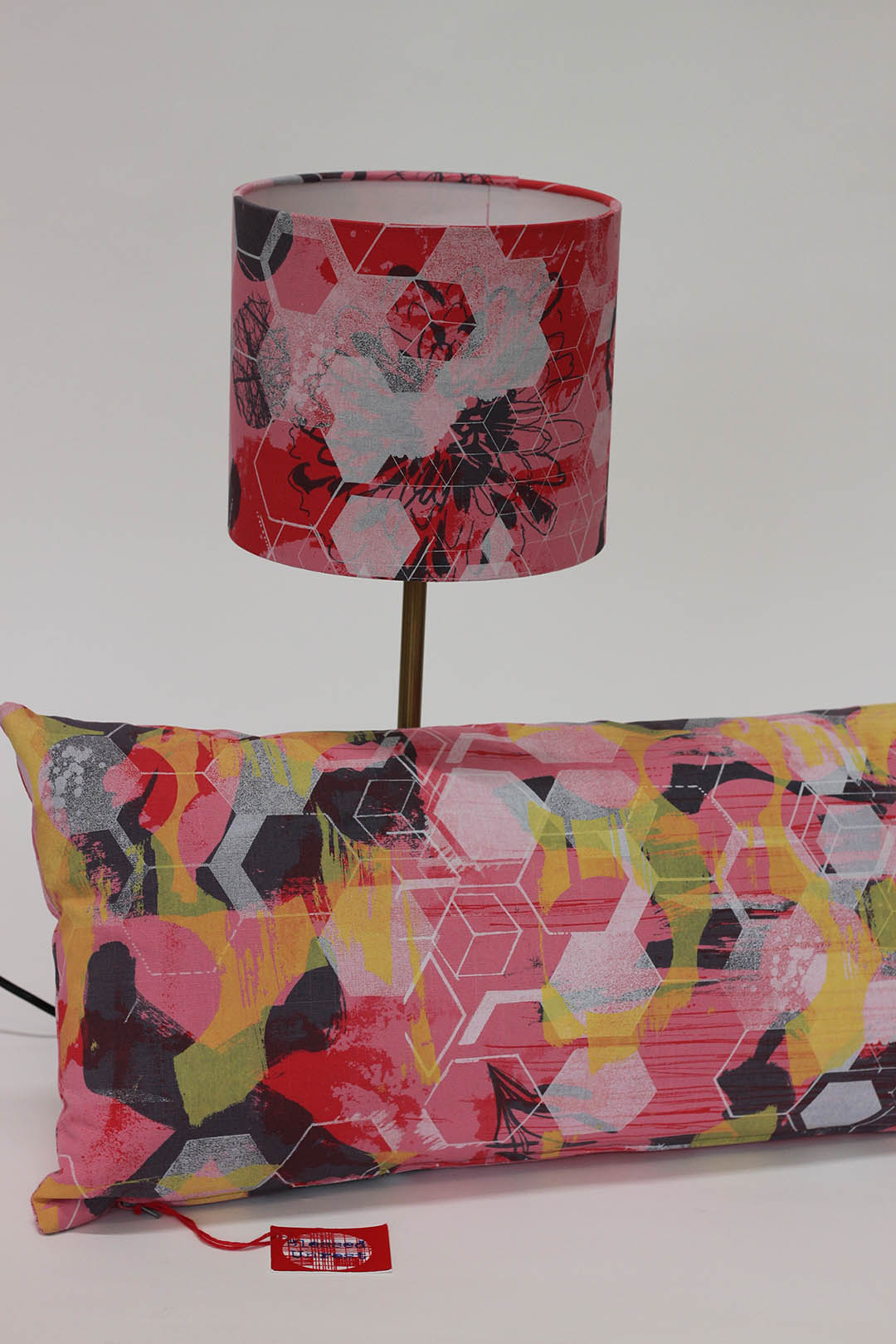 Screen Print Products: Hand printed Cushion and Lampshade