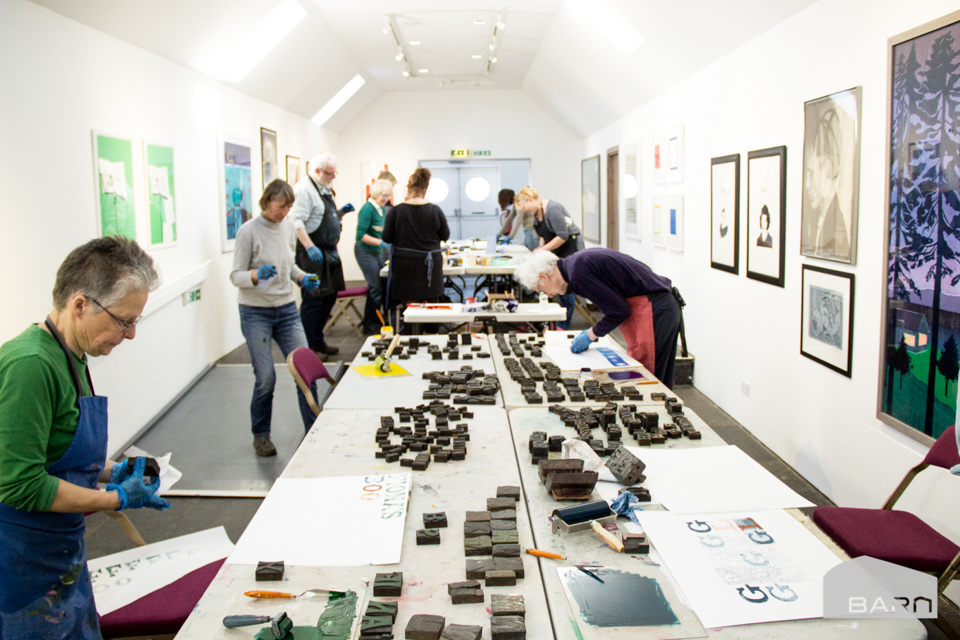 Relief printing workshop in the gallery/>               </div>               <div class=
