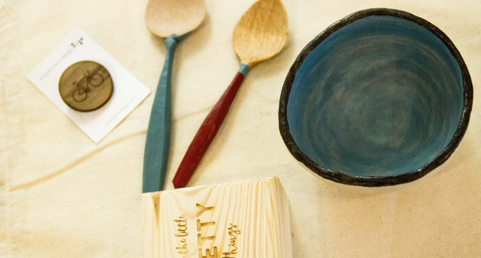 Craft available from our pop-up boutique. (Wooden spoons by Ollie Stearn, brooch and box by OpenBoxDesign and bowl by Mags Gray)/>               </div>               <div class=