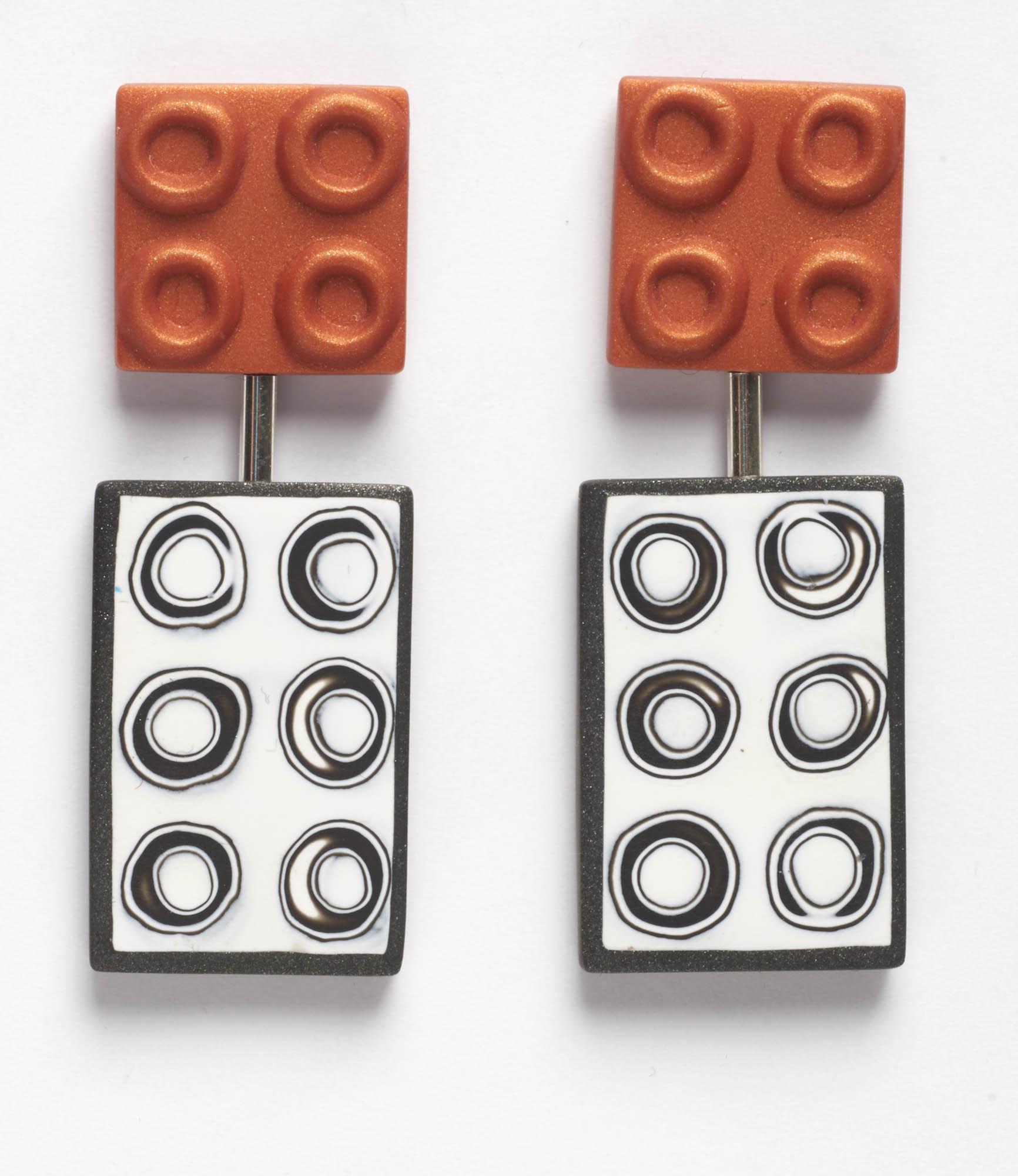 Burnt Orange Mono Circles Earrings