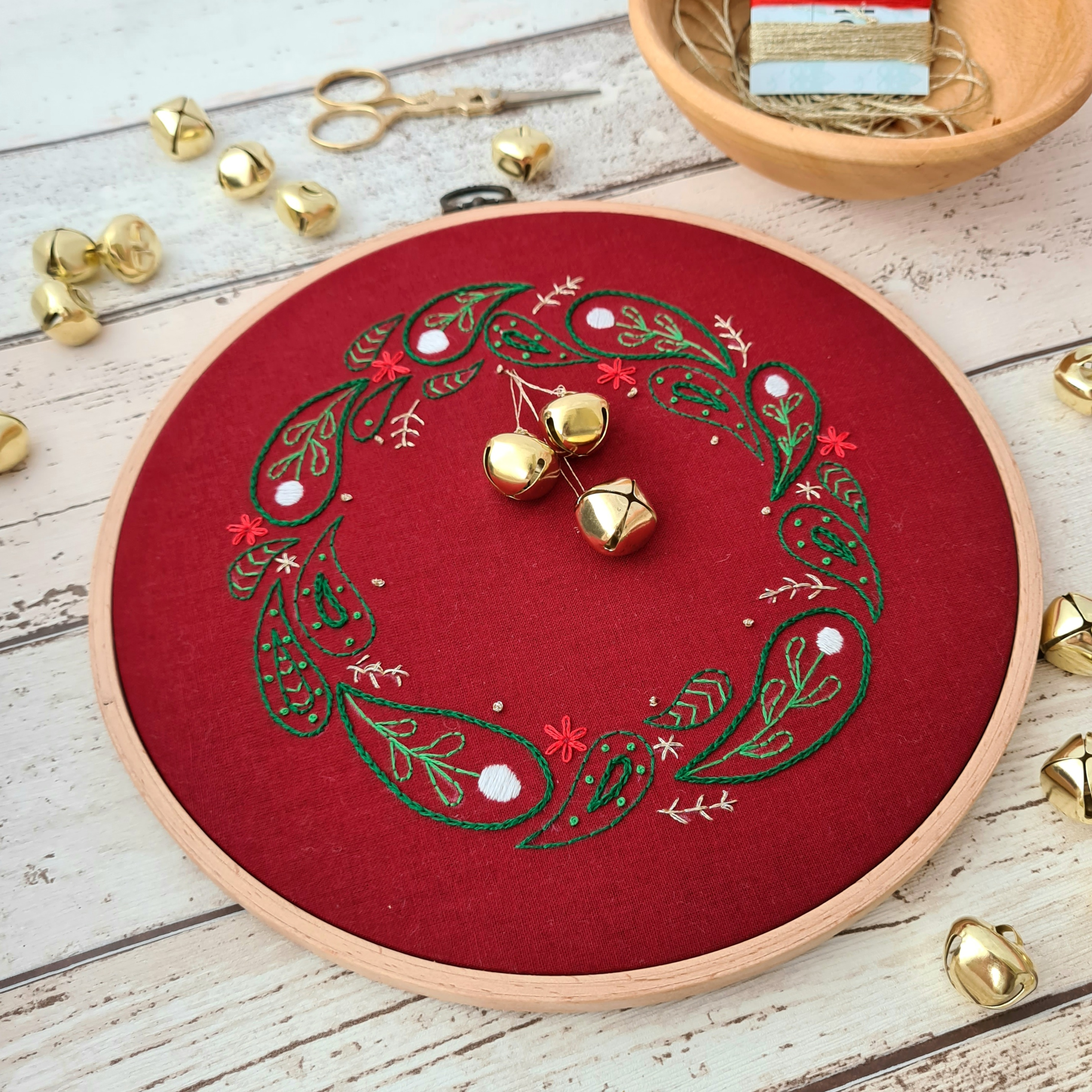 Embroidery Workshop: Festive Wreath