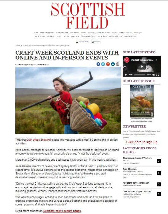 Scottish Field: Craft Week Scotland Ends With Online and In-person Events - Image courtesy of Scottish Field
