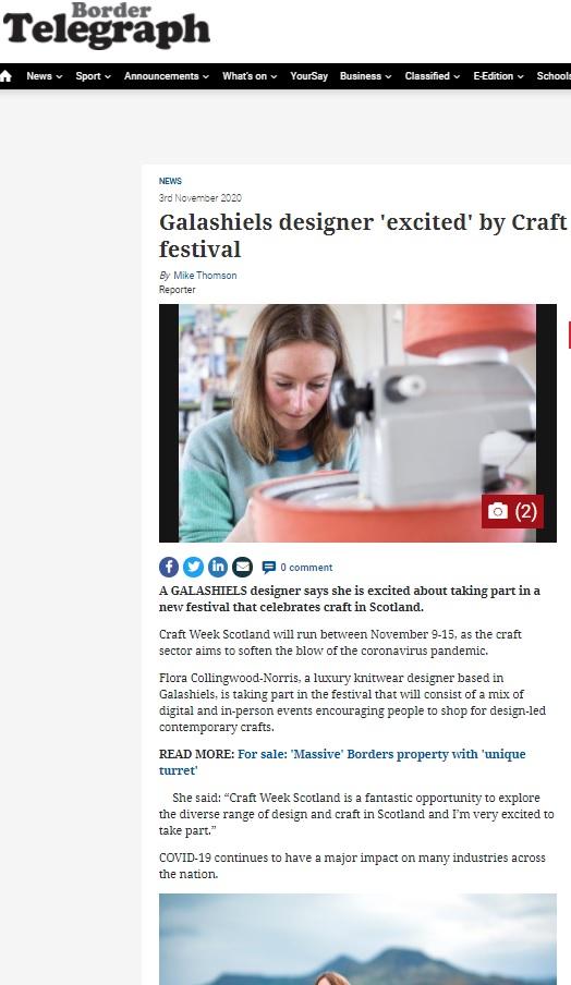 Border Telegraph: Galashiels designer excited by Craft festival - Image courtesy of Border Telegraph