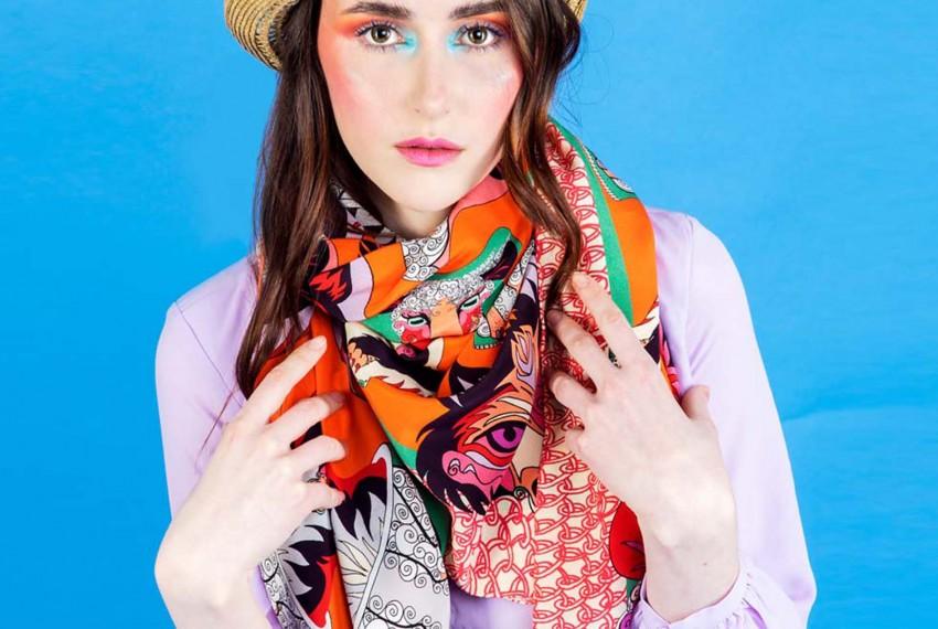 Helen Ruth Wolf in Sheep's Clothing Orange Scarf
