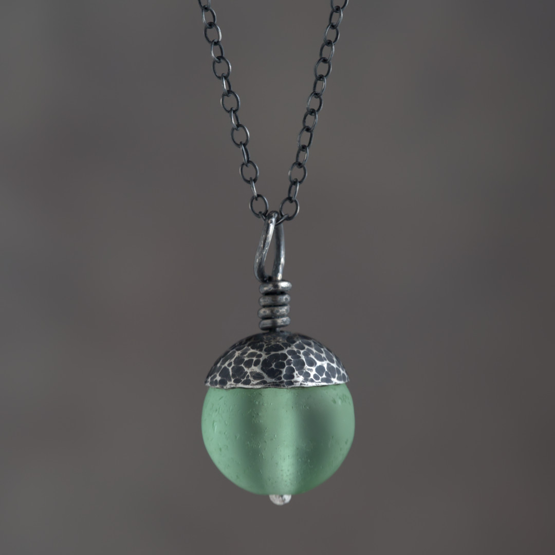 Green Acorn Pendant in Silver