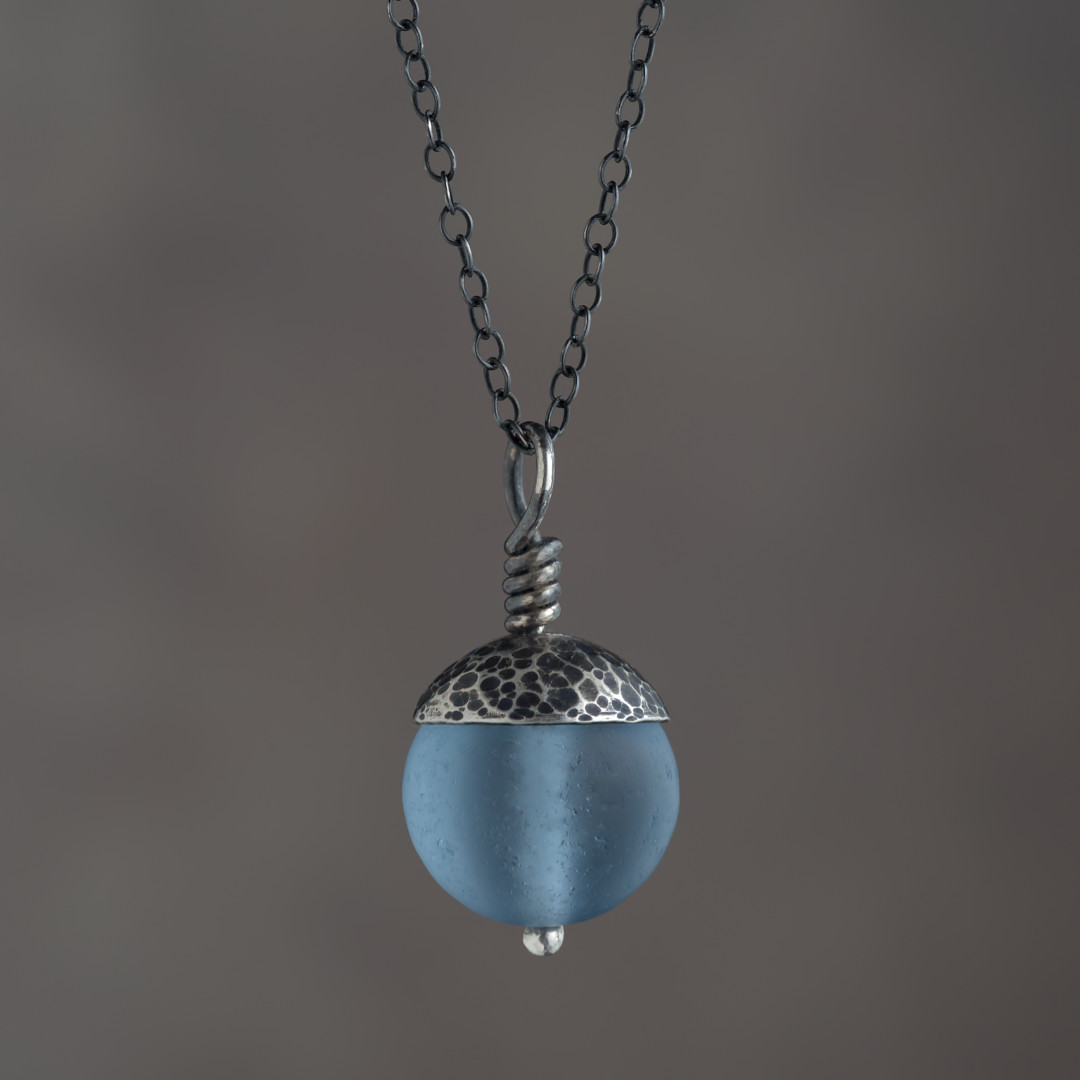 Blue Acorn Pendant in Silver