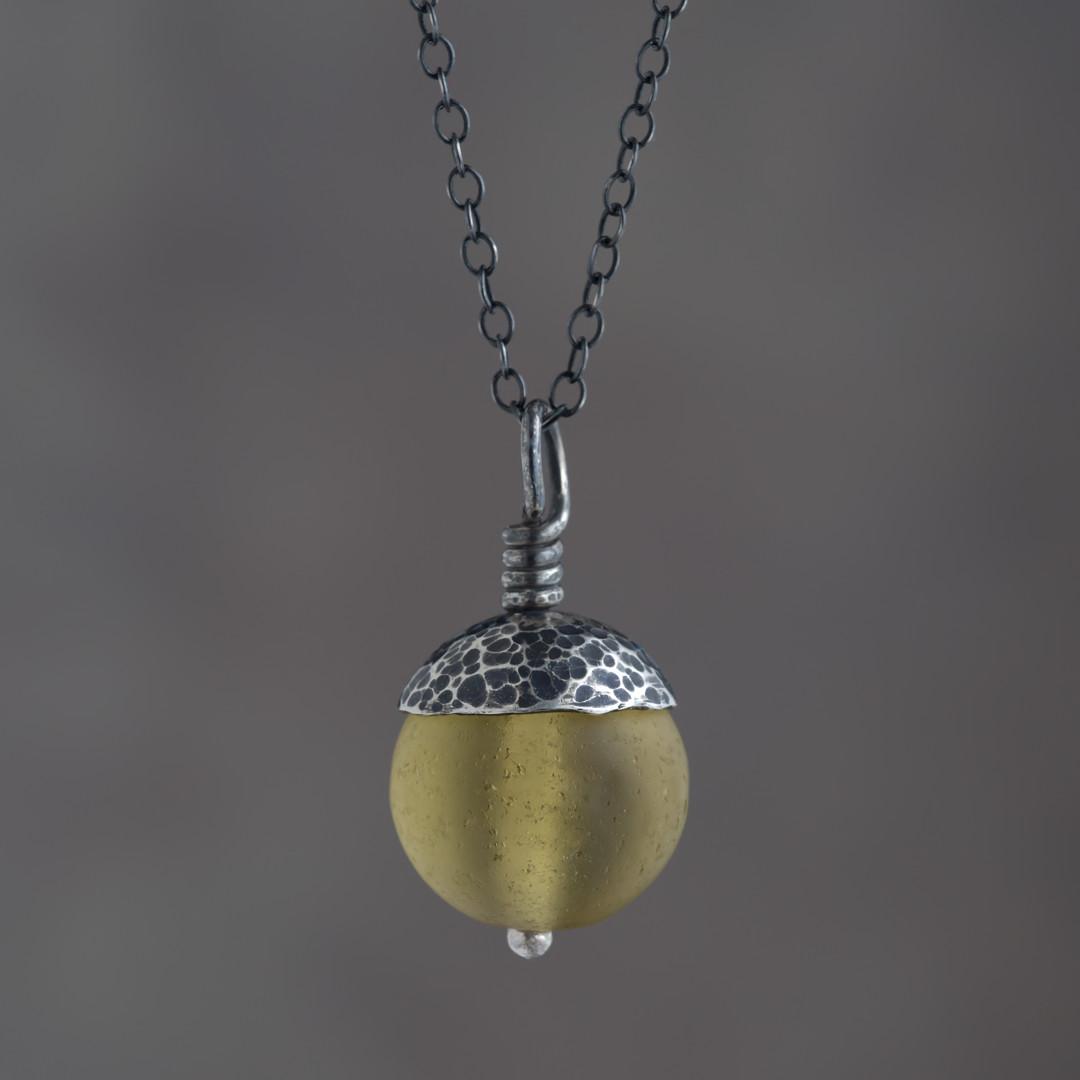 Yellow Acorn Pendant in Silver