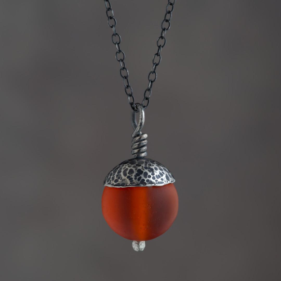 Orange Acorn Pendant in Silver