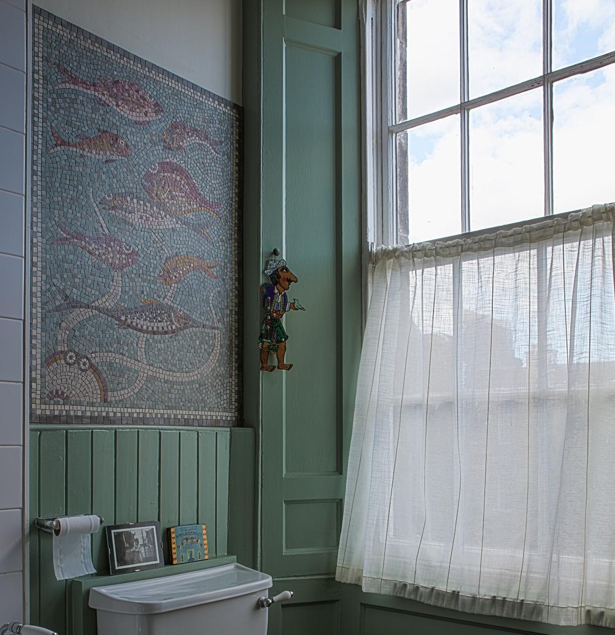 Bathroom fish mural