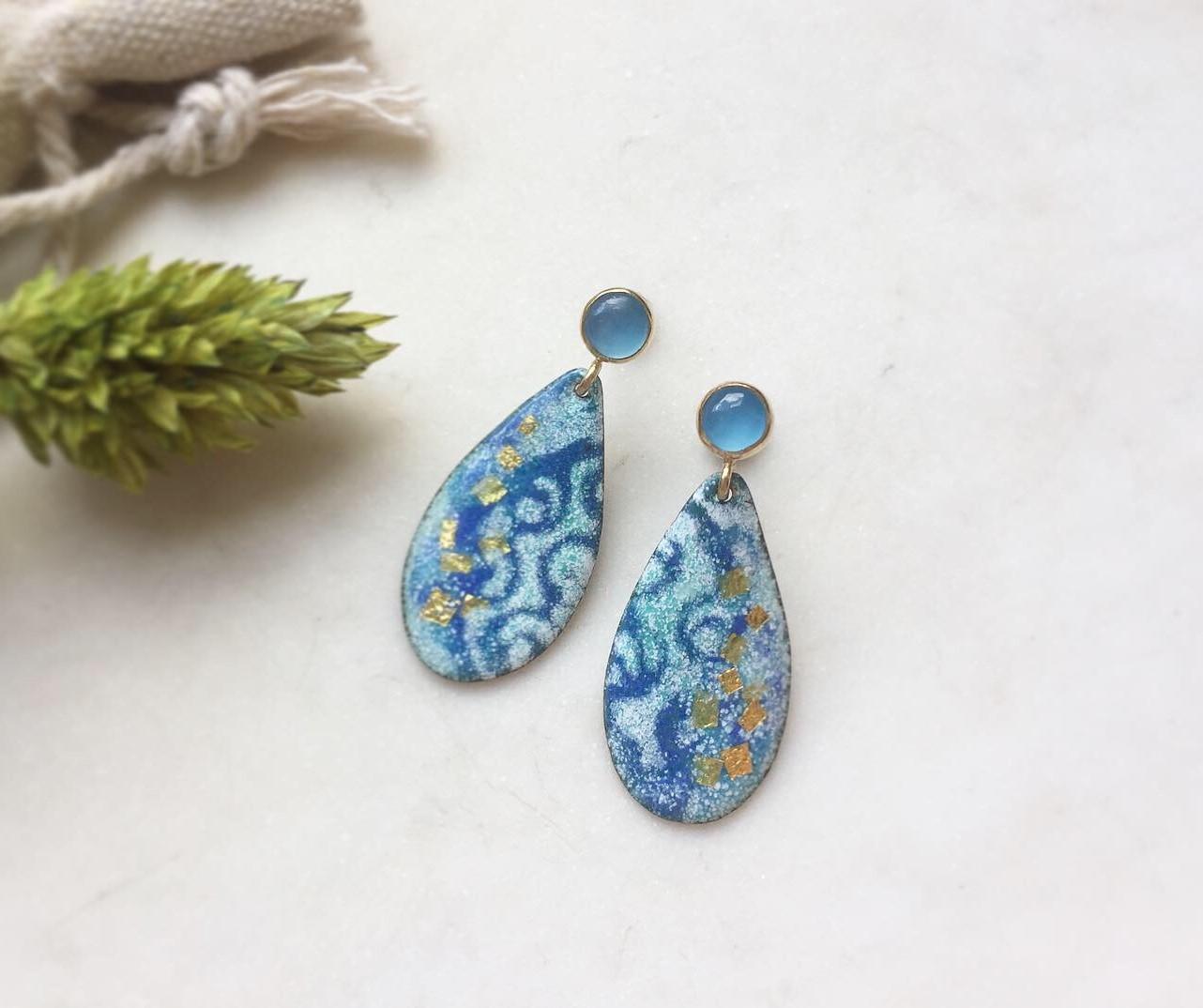 Blue Enamel Raindrop Earrings