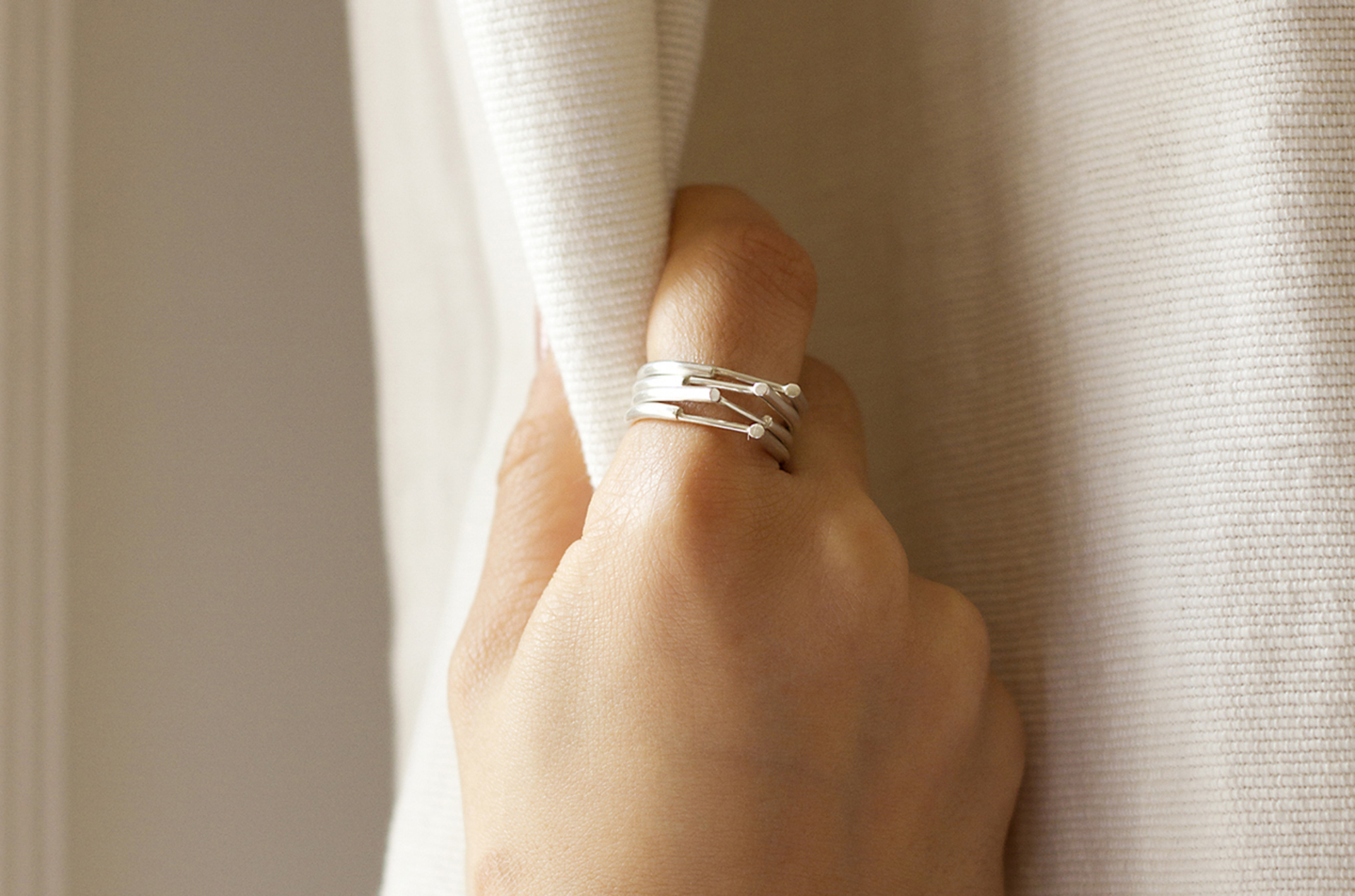 Ruth Leslie Nook rings stacked