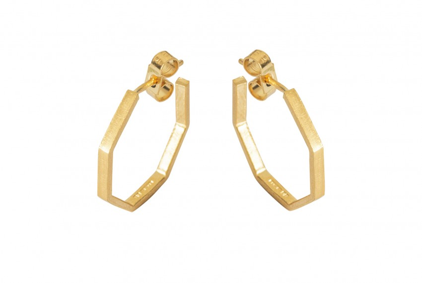 Scarlett Cohen French Octagon Hoops Gold