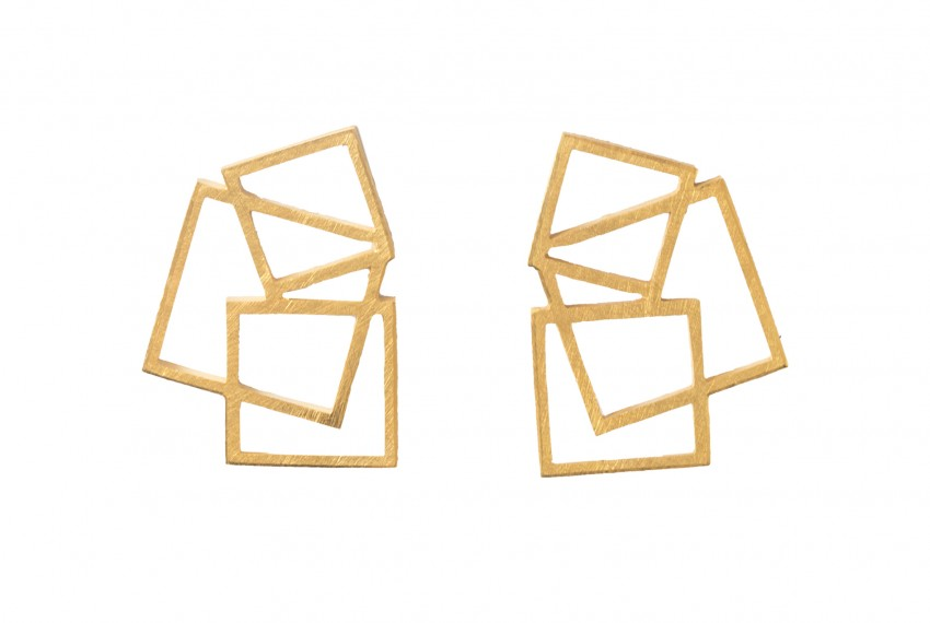 Scarlett Cohen French Square Disarray Studs Gold