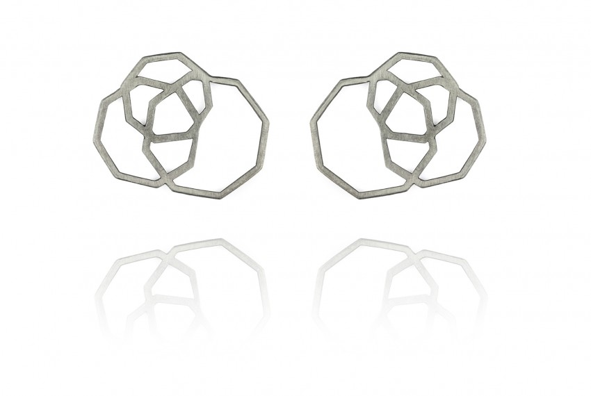 Scarlett Cohen French Octagon Disarray Studs Silver