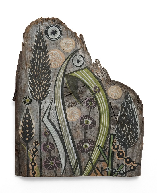 Angie Lewin, 'Clifftop Grasses', collage on driftwood, 2017 (low res)