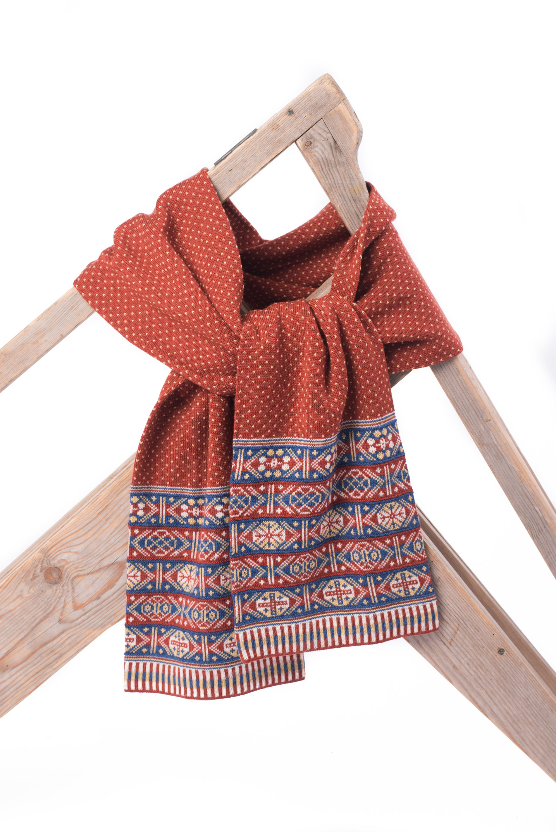 Heritage colour scarf with Fair Isle at ends only, blue