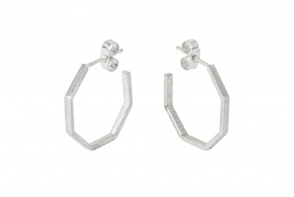Scarlett Cohen French Octagon Hoops Silver